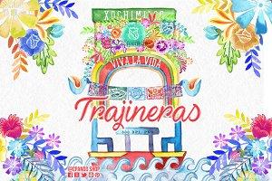 Trajinera Xochimilco mexican clipart