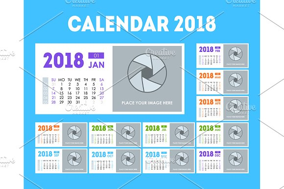 calendar event planner 2018 illustrations creative market