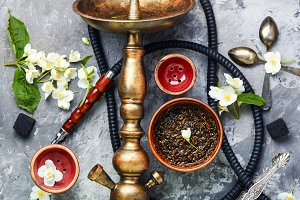 Oriental tobacco hookah with floral