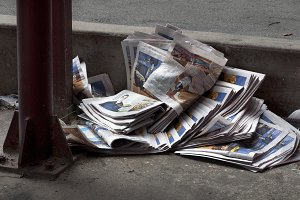 Discarded newspapers