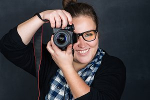 a girl with a camera