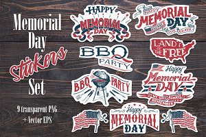 Memorial Day Stickers Set