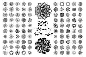 100 Mandalas Vector Set