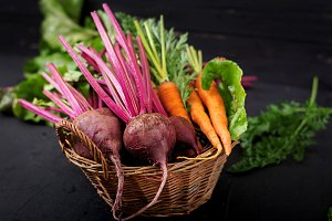 Young beetroot and carrots