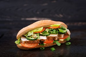 Big sandwich with chicken breasts