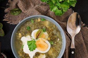 Green soup of sorrel