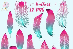 Galaxy Feathers Clipart