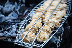 Mushrooms on a grill