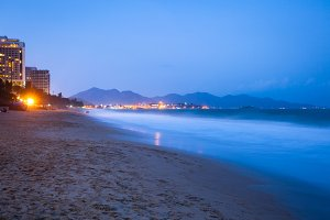 Nha Trang beach at night, Vietnam