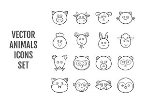 Set of 16 vector line animals icons