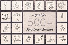 500+ Hand Drawn Elements -Bundle-