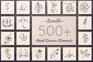 500+ Hand Drawn Elements -Bundle-