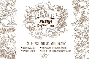 Set of vegetable design elements