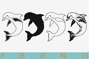 dolphin vector svg png eps