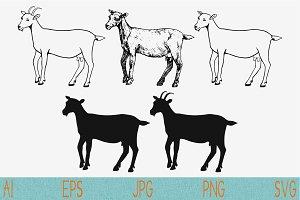 Goat, set vector svg png eps