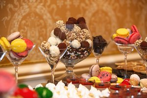 sweet banquet table with different sweets