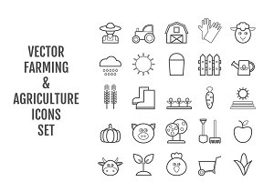 25 vector line agriculture icons