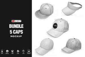 Bundle Caps Mockup 80 PSD files