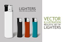 Realistic set of lighters