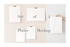 Mockup set 4 Modern Minimal Poster