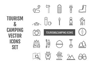 22 vector line tourism&camping icons