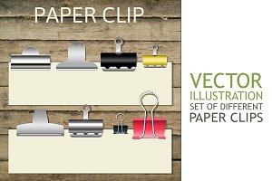 Set of different paper clips