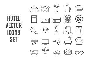 Set of 25 vector line hotel icons