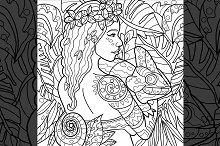 Exotic Girl With Chameleon Line Art