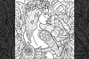 Exotic Girl With Chameleon Line Art