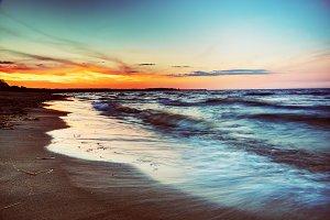 Ocean at sunset. Romantic colors