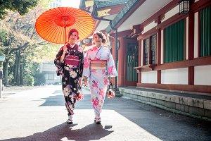 Japanese girls with kimono