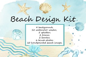 Beach Blues Design Clip Art Kit