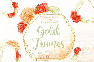 Graphic gold frames clipart