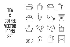 16 vector line tea & coffee icons