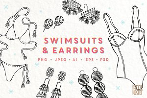 Hand Drawn Swimsuits and Earrings