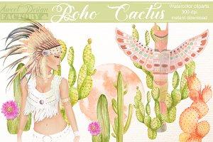 Boho & cactus clipart