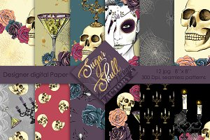 Sugar skull digital paper pack