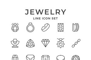 Set line icons of jewelry