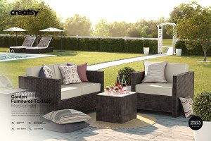 Garden Furnitures Textiles Mockup