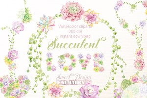 Succulent love cliparts