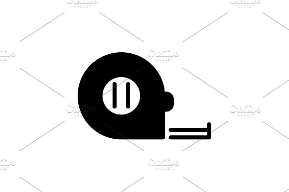 Web line icon. Tape measure black