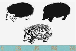 hedgehog set vector svg png eps