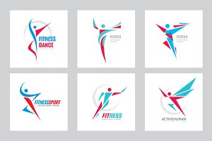 Human Fitness Sport Vector Logo