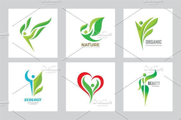 Human Nature Leaf Vector Logo