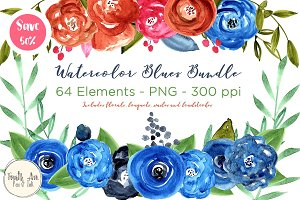 Blue Watercolor Floral Graphics