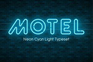 Neon light font Motel