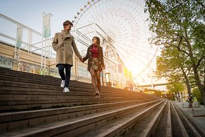 Japanese couple dating in Osaka