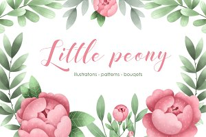 Little peony. Floral set.