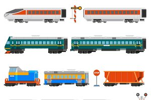 Rail transport flat colorful icons