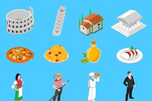 Italian isometric icons collection